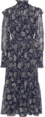 Walter Baker Lakendra Shirred Printed Georgette Midi Dress