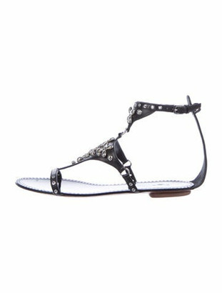 Alaia Leather Studded Accents T-Strap Sandals Black
