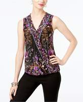 INC International Concepts Printed Surplice Sleeveless Top, Created for Macy's