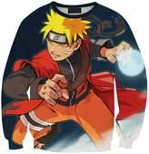 Lady Queen Women's Uzumaki Naruto 3d Print Roll Neck Pullover Sweatshirt Size M