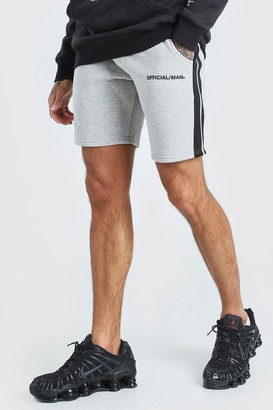 boohoo Mens Grey MAN Official Relaxed Fit Shorts With Tape, Grey