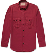 Burberry Brushed-cotton Twill Shirt - Claret