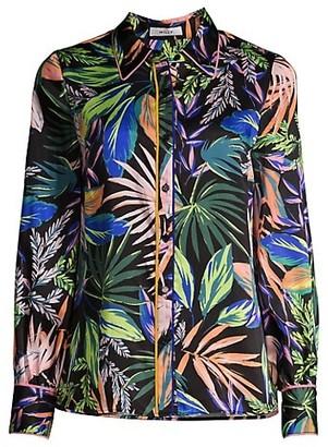 Milly Juliette Tropical-Print Button-Up Shirt