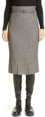 Akris Houndstooth Belted Double Face Wool Midi Pencil Skirt