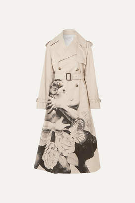 Valentino Printed Cotton-gabardine Trench Coat - Beige