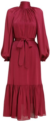 Zimmermann Gathered Bow Long Sleeve Dress