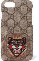 Gucci Appliquéd Printed Coated-canvas Iphone 7 Case - Brown