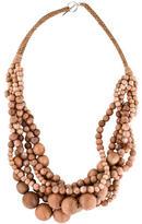 Brunello Cucinelli Wood & Sunstone Bead Necklace