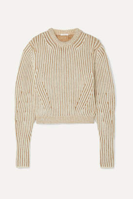 Chloé Ribbed Two-tone Wool-blend Sweater - Beige