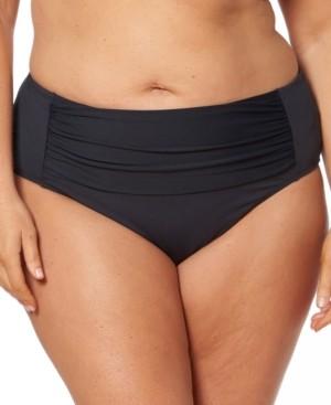 BLEU by Rod Beattie Bleu Rod Beattie Plus Size Shirred Tummy Control Bikini Bottoms Women's Swimsuit