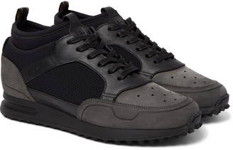Dunhill Radial Runner Neoprene And Leather-trimmed Suede And Mesh Sneakers - Black