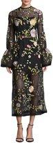 Rachel Gilbert Finley Embroidered Flared-Cuff Tea-Length Gown, Black