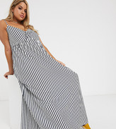 Asos DESIGN Curve cami bow front maxi sundress in navy and white in stripe