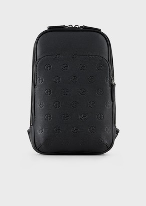 Giorgio Armani One-Shouldered Leather Backpack With Embossed Logo Motif