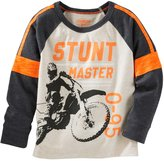 Osh Kosh Boys 4-8 Raglan Long Sleeve Pieced Graphic Tee
