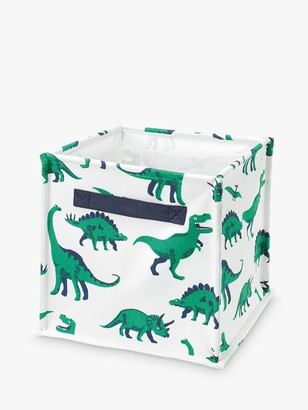 Great Little Trading Co Dinosaur Canvas Storage Cube Box, White/Green