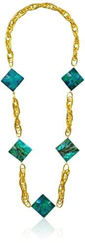 Devon Leigh Gold-Tone Chrysocolla Long Necklace