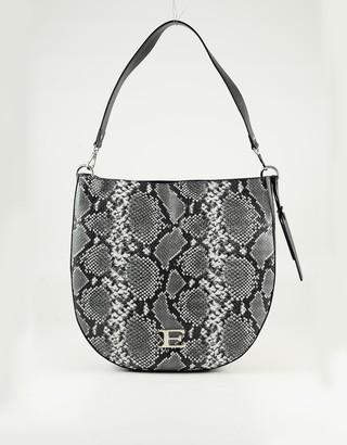 Ermanno Scervino Dark Gray Python Printed Eco Leather Shoulder Bag