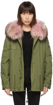 Mr & Mrs Italy Green Mini Fur Army Parka