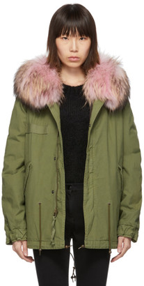 Mr & Mrs Italy Green Mini Fur Army Parka