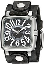 Nemesis Women's 218GBV-K Black 3D Squared Series with Faded Black Leather Cuff Band Analog Display Japanese Quartz Black Watch