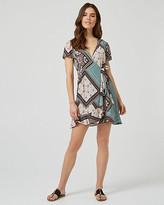 Le Château Ornamental Print Wrap-Like Ruffle Dress