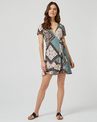 Le Château Ornamental Print Wrap-Like Ruffle Dress