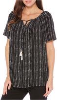 Rafaella Summer 17 Short Sleeve Stripe Peasant Top