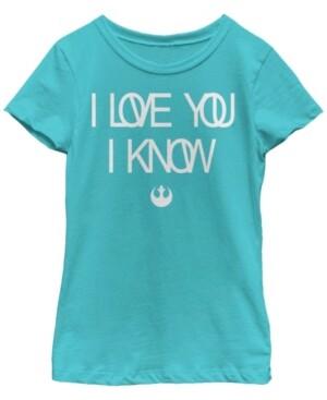 Fifth Sun Star Wars Big Girl's Love You I Know Rebel Symbol Short Sleeve T-Shirt