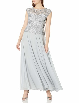 J Kara Women's Cap Sleeve Embroidered Gown with Scallop Edging