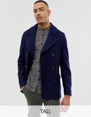 Harry Brown Tall premium wool blend pea coat