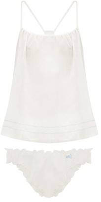Loup Charmant Heirloom Embroidery Cotton Cami Top And Briefs - White Multi