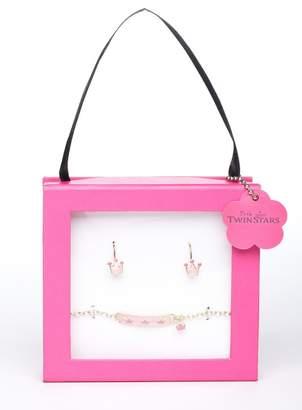 Little Miss Twin Stars Girl's Crown ID Bracelet & Leverback Earrings Set