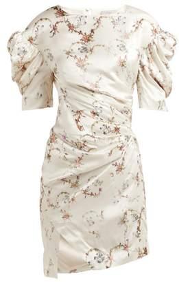 Preen by Thornton Bregazzi Greta Floral Print Puff Sleeve Satin Dress - Womens - Ivory