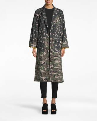 Nicole Miller Flower Patch Denim Oversized Jacket