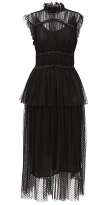 Romance Was Born Frolic Polka-dot Tulle Peplum Midi Dress - Womens - Black