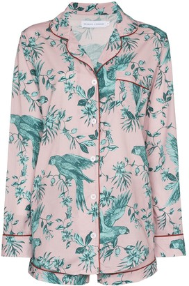 Desmond & Dempsey Bromley parrot-print cotton pyjama set