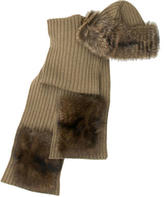 Loro Piana Fur-Trimmed Scarf and Beanie Set