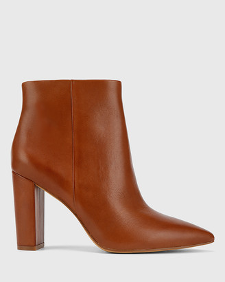 Wittner - Women's Brown Heeled Boots - Hurlie Leather Block Heel Ankle Boots - Size One Size, 37 at The Iconic