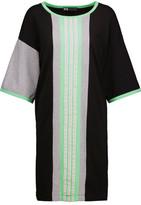 Y-3 + Adidas Originals Open Knit-Trimmed Striped Cotton-Jersey Mini Dress