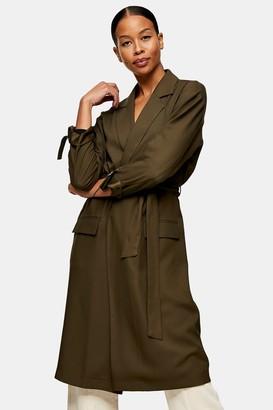 Topshop Womens Khaki Duster Coat - Khaki