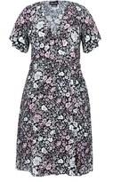 City Chic Etched Floral Wrap Dress