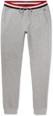 Moncler Slim-Fit Striped-Trimmed Melange Loopback Cotton-Jersey Sweatpants