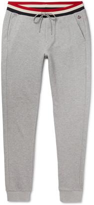 Moncler Slim-Fit Striped-Trimmed Melange Loopback Cotton-Jersey Sweatpants