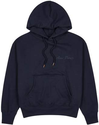 Ami Navy Hooded Cotton-blend Sweatshirt