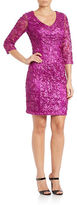 Sue Wong Sequined V-Neck Sheath Dress
