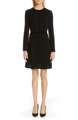 Emporio Armani Long Sleeve Textured Velvet Dress