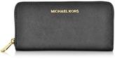 Michael Kors Black Jet Set Travel Saffiano Leather Continental Wallet