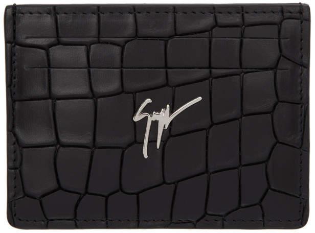 Giuseppe Zanotti Black Croc Logo Card Holder