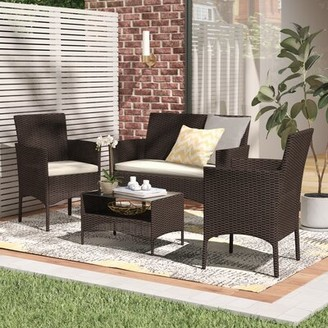 Wade Logan Woodland Park 4 Piece Rattan Sofa Seating Group with Cushions Frame Color/Cushion Color: Espresso Frame/Beige Cushion